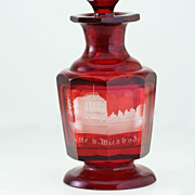 c.1890 German Flashed Ruby Glass Engraved Wiesbaden Spa Souvenir Scent Perfume Bottle