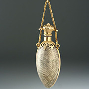 c.1880 Egg Shape Metal Scent Perfume Bottle with Dot pattern Decoration