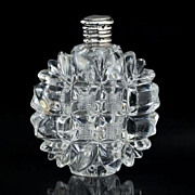 c.1880 French Cut Crystal Scent Perfume Bottle, Silver Top