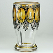 c.1910 Steinschonau Bohemia Schwarzlot Black & Yellow enameled Glass Goblet Vase