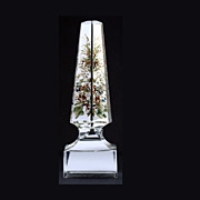 Mid to Later C19th Cut Glass Obelisk: Enamelled Spray of Flowers