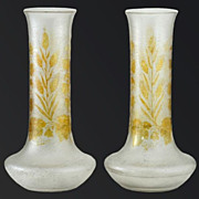 c. 1910-20 Stipple Ground Glass Vases With Relief Hops & Wheat Decoration, Probably French
