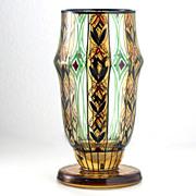 c.1910 Schwarzlot Enameled Glass Goblet Vase, Possibly Adolf Beckert Fachschule Steinschönau