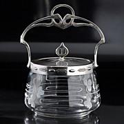 c.1905 Art Nouveau Glass Preserve or Honey Pot with Plated Mounts