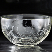 c.1950s Clear Glass Bowl Engraved with Fish & Weeds, Probably Scandinavian