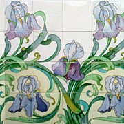c.1905 Spectacular Hemiksem Belgium Art Nouveau 12 or 24 Tile Iris Panel, Multiple Panels Avai