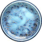 Late 1920s Early 30s Large Pierre D'Avesn Deco Opalescent Glass Bird Of Paradise Charger, Sign