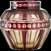 c.1930s Val St. Lambert Amethyst Over Topaz Zinia Crystal Vase Flower Holder #3, Joseph Simon
