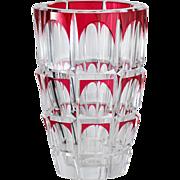 c.1950s Val St. Lambert Cranberry Overlay Crystal Vase
