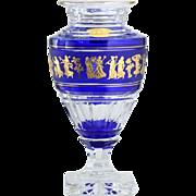 Val St. Lambert Jupiter Danse De Flore Cobalt Cased Crystal Vase