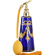 c.1900 Richly Gilded Cobalt Glass Dressing Table Scent Perfume Spray Atomizer, Probably Baccar