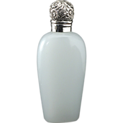 1901 Opaline Glass Scent Perfume Bottle, Silver Top