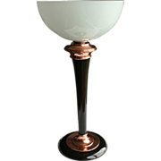 c.1970s Deco Revival French Mazda Table Lamp With Milk Glass Uplighter Shade