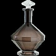 c.1930s Val St. Lambert Smoky Plum Deco Crystal Decanter