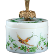 c.1900 French Opaline Milk Glass Jar & Cover Enamelled By R. Noirot