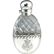 c.1886 French Crystal Spirit Flask In Silver Holder, Similar To Scent Perfume Bottle