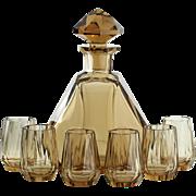 c.1930s Val St. Lambert Deco Topaz Crystal Decanter & Six Glasses Set