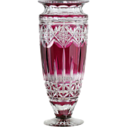 c.1930s Val St. Lambert Amethyst To Clear Florence Crystal Vase By Joseph Simon