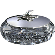 c.1950s Cut Crystal Bowl With Rose Bud Sterling Silver Lid By Emil Hermann