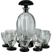 c.1920s 30s Czech Deco Engraved Glass Decanter & Glasses Set On Black Bases