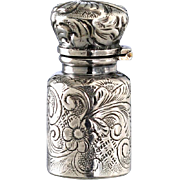 SOLD c.1900 Foliate Embossed Miniature Silver Scent Perfume Bottle