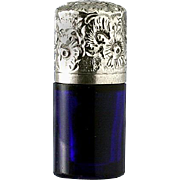 SOLD c.1880 Miniature Cobalt Glass Scent Perfume Bottle, Silver Top