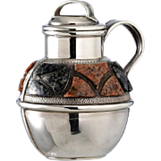 SOLD 1894 Silver Scent Perfume Bottle Jug Pitcher With Scottish Hardstone Decoration