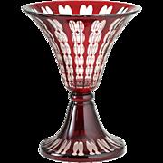 1915-20 Tall Optic Cut Ruby Overlay Glass Vase, Johann Oertel Haida