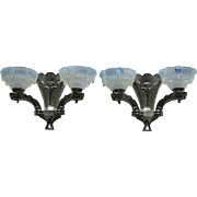 c.1930s Pair Of Deco Ezan France Opalescent Glass Double Wall Lights & Metal Brackets