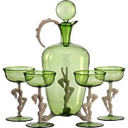 c.1940s-50 Bimini Nudes Sea Green Deco Decanter & Glasses Set