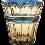 c.1930s Val St. Lambert Blue Over Topaz Crystal Vase, Joseph Simon