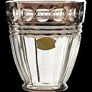 c.1930s-40s Val St Lambert Crystal Vase With Brown Overlay Rim