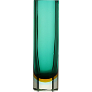 c.1960s-70s Murano Green Sommerso Cylinder Glass Vase, Probably Seguso
