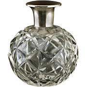 c.1930s Cut Crystal Spherical Scent Bottle, Plated Top With Bakelite Medallion