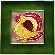 c.1900 English Art Nouveau Stylised Turkey Tile