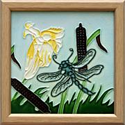 c.1920s Verdejo Manises Spanish Tubleine Dragonfly Tile, Framed
