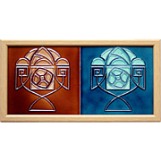 SOLD c.1920s Ceramiques Herent Belgium Abstract Two Tile Panel, Framed