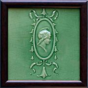 c.1900 Mintons Relief Mercury Head Tile, Framed
