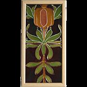 SOLD c.1950s English Two Tile Retro Poppy Set, Framed