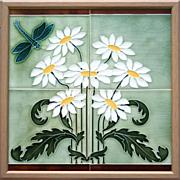 c.1910 Framed Continental Art Nouveau Four Tile Dragonfly Panel