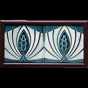 c.1905 M.O.P.F. German Art Nouveau Stylised Two Tile Panel, Framed