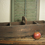 SOLD Great Old Primitive Farmhouse Wooden Tote w. Cubby Sections