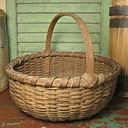 Granny's Early Old Authentic Woven Splint Farm Basket