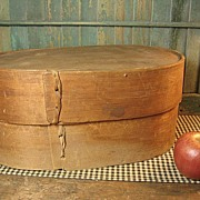 Large Old Vintage Oval Wooden Pantry Box