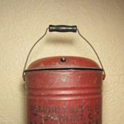 SALE Fabulous Early Old Metal Gasoline Can w Bail Handle, Stencil Advertising & Old RED Paint