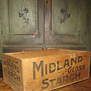 SALE Large Old Wooden Advertising Crate Box – Midland Starch – Decatur, Illinois