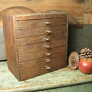 Wonderful Old Unique Handmade Primitive 7 Drawer Wooden Cabinet