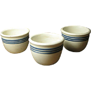 SALE Set of Three Old White Pottery Custard Cups w. Three Cobalt Blue Stripes