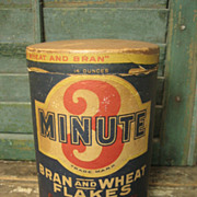 REDUCED Sweet Old '3 Minute' Bran and Wheat Flakes Round Box – Advertising – Cedar Rap