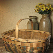 SOLD Grandma's Old Country Gathering Basket – Ash Splint – Wooden Handle